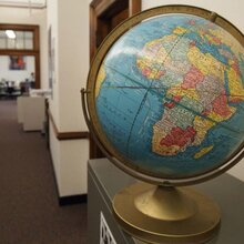 Photo of a decorative globe in a library