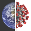 Half of the earth juxtaposed against half a rendering of the COVID-19 virus.